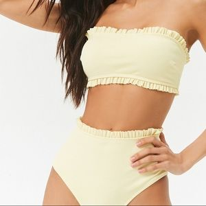 05b033c4fe2 Forever 21 Swim | Ruffle Trim Bandeau And Highwaisted Bikini Nwt ...